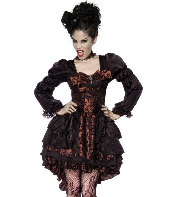 Premium-Vampir-Kostüm im Barockstil mit dekorativen Applikationen aus Spitze