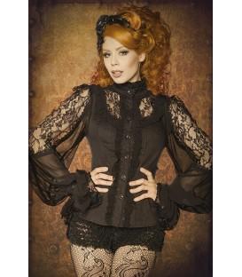 Steampunk/Gothic-Bluse mit Knopfleiste und Biesen im Vorderteil