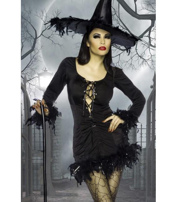 Hexen-Minikleid mit tiefen Ausschnitt und einer sexy Schnürung