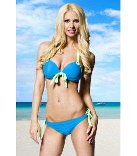 Push-Up-Bikini blau/grün