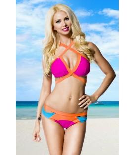 farbenfroher Bikini pink/orange/blau
