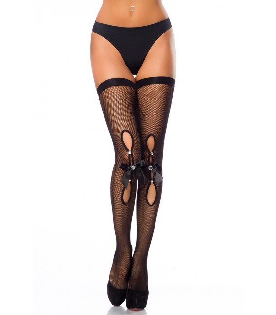 Halterlose Netz-Stockings mit Cutout