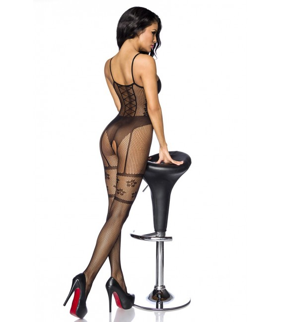 Bodystocking ouvert in Straps-Optik