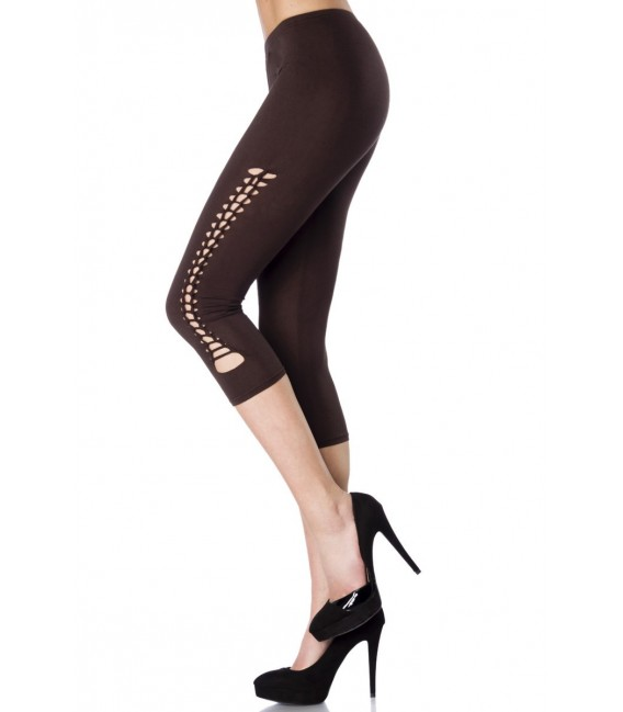 Capri-Leggings mit partiellem Flecht-Design - Bild 1 Großbild