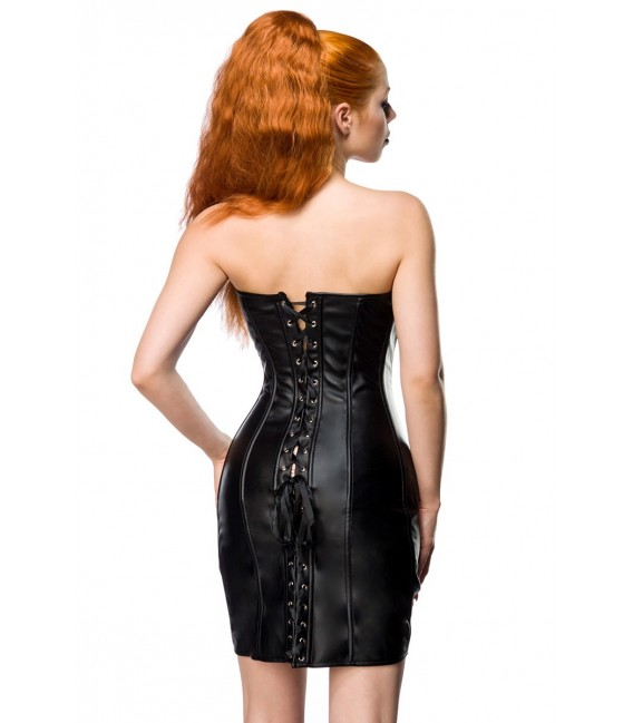 Corsagen-Kleid in Lederoptik mit Herzausschnitt
