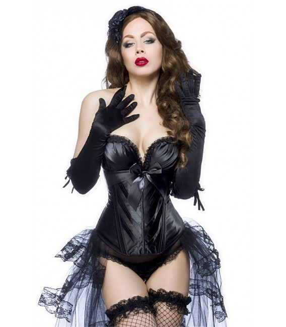 Burlesque-Satin-Corsage mit kleinen Rüschen am Ausschnitt schwarz