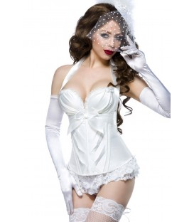 Burlesque-Satin-Corsage weiß - AT13990