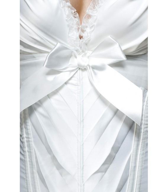 Burlesque-Satin-Corsage mit kleinen Rüschen am Ausschnitt weiß