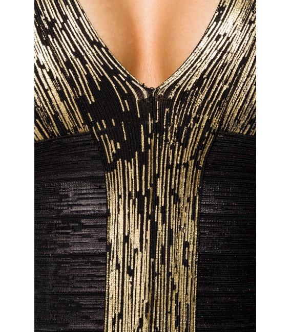 Bandage-Shape-Kleid mit goldfarbener Metallic-Beschichtung