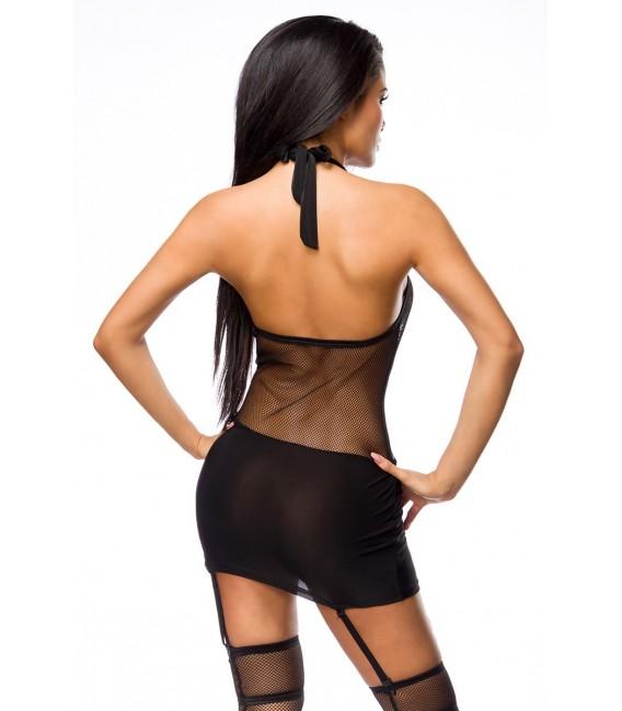 sexy Gogo-Set, Neckholder-Mesh-Kleid mit Strapsbändern und Strümpfe