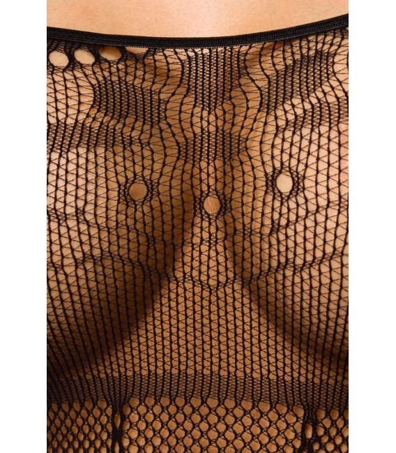 Bodystocking in Straps-Optik, partiell mit floralem Muster und Streifen