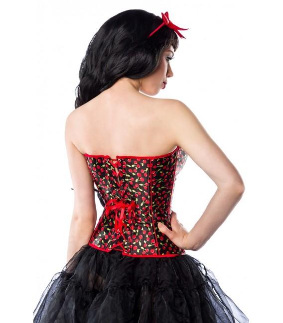 Satin-Corsage in schwarz-rot mit Kirschmuster im Rockabilly-Style und Herzausschnitt