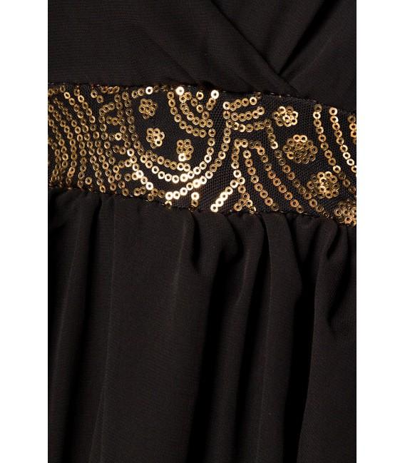 langes Kleid mit goldfarbener Pailletten-Verzierung