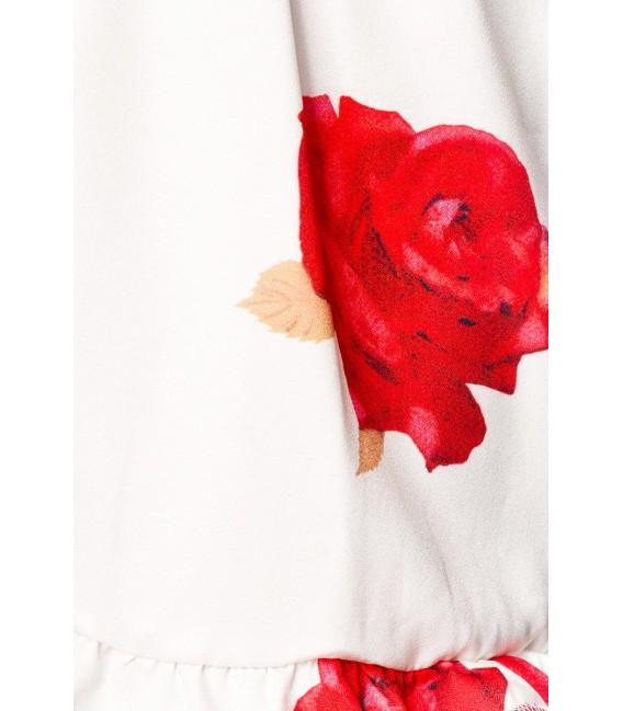 Jumpsuit mit Rosen-Print mit tiefem V-Ausschnitt und breiten Trägern