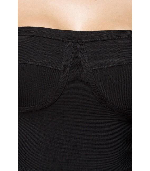Bandage-Shape-Kleid schwarz mit dekorativ, aufgesetzten Streifen