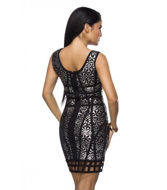 Bandage-Shape-Kleid schwarz-silber mit aufgesetzt gekreuzten Streifen