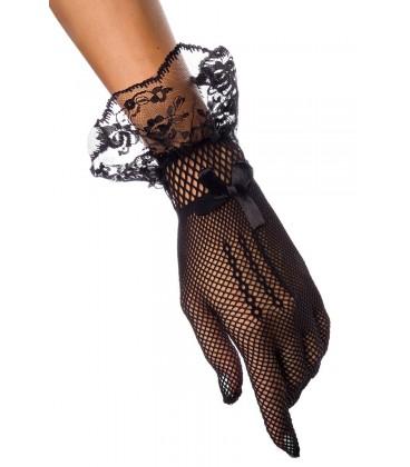 Netzhandschuhe mit Spitzenbesatz schwarz - AT14395