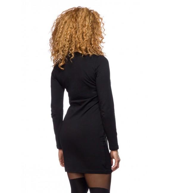 long Sweater schwarz mit Strasssteinen besetzt