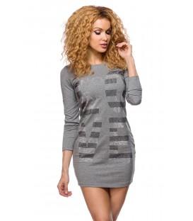 long Sweater grau mit Strasssteinen besetzt