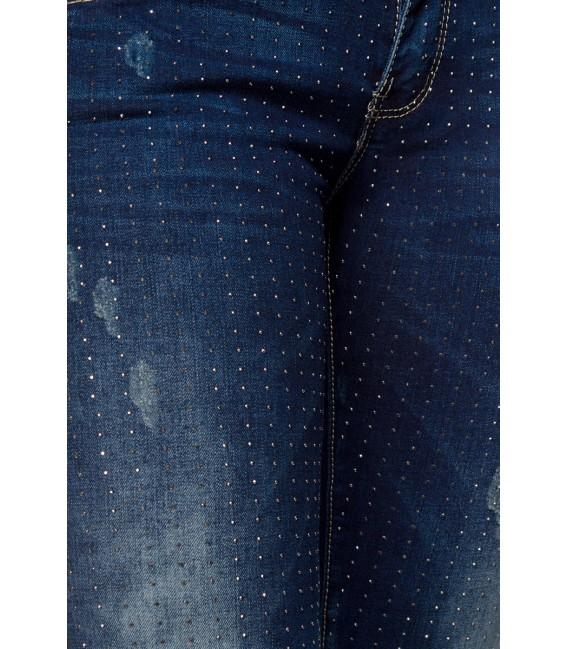 Jeanshose mit Waschung und Strass