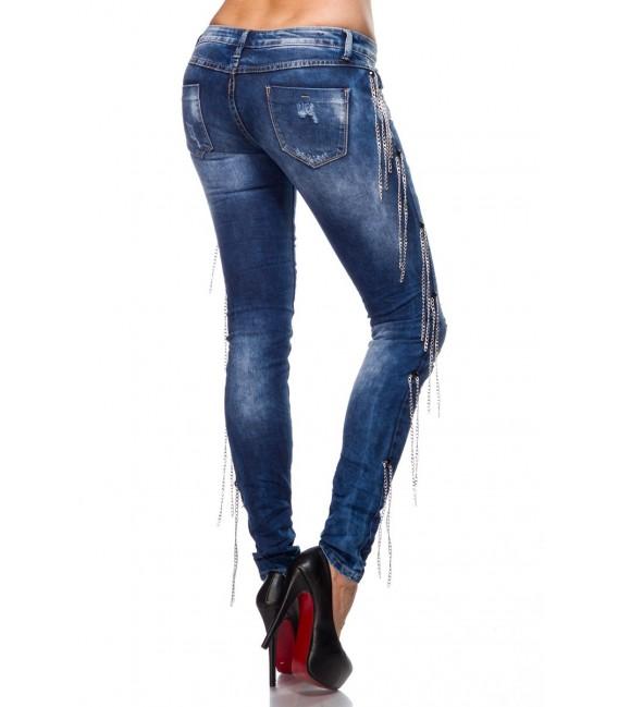 Usedlook-Jeans - stone washed Optik mit Rissen und Ketten