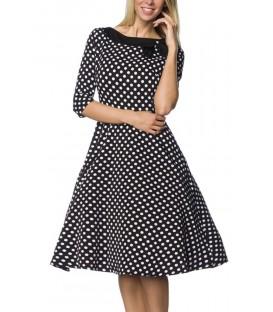 Rockabilly-Kleid mit aufgesetzter Schleife am Ausschnitt