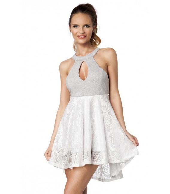 Feminines Kleid mit unterlegter Spitze und Cut-Out
