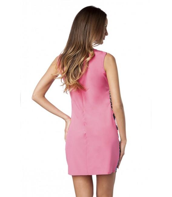buntes Kleid mit geradem Schnitt und breiten Trägern