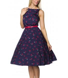 Vintage-Kleid mit Gürtel, Rundhalsausschnitt und breiten Trägern