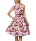 Vintage-Kleid mit Gürtel schwarz/gemustert - AT14736