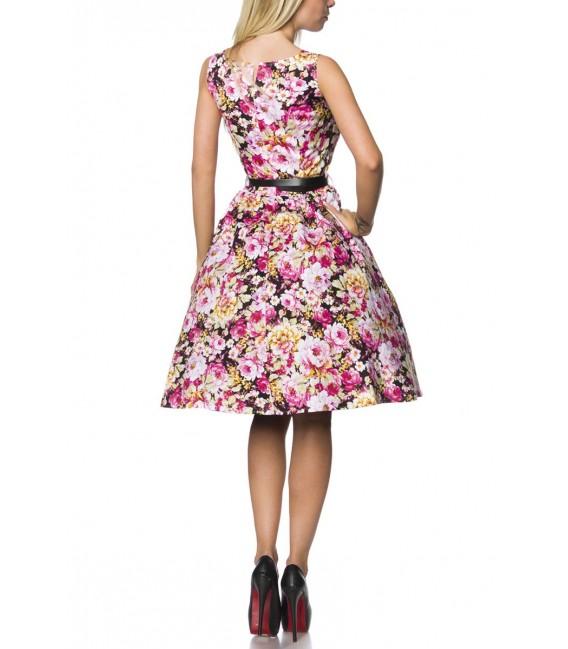 Vintage-Kleid mit Gürtel schwarz/gemustert mit Rundhalsausschnitt und breiten Trägern
