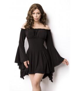 Piraten-/Mittelalterkleid oder Longbluse - Tunika mit Trompetenärmeln und dem Carmen Ausschnitt schwarz