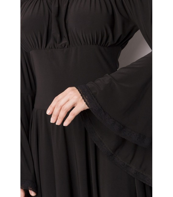 Piraten-Mittelalterkleid mit Carmen Ausschnitt, Raffung im Brustbereich und Trompetenärmeln schwarz