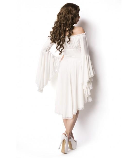 Piraten-Mittelalterkleid mit Carmen Ausschnitt, Raffung im Brustbereich und Trompetenärmeln weiß
