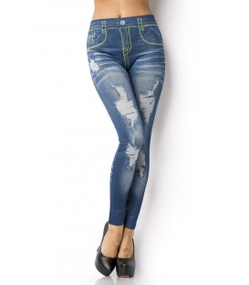 Leggings mit Print in Jeans Waschung
