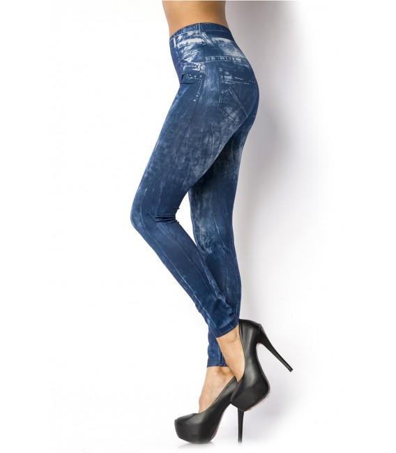 Leggings aus weichem, dehnfähigem Material im Jeans Look mit aufgedruckten Taschen und Steppnähten
