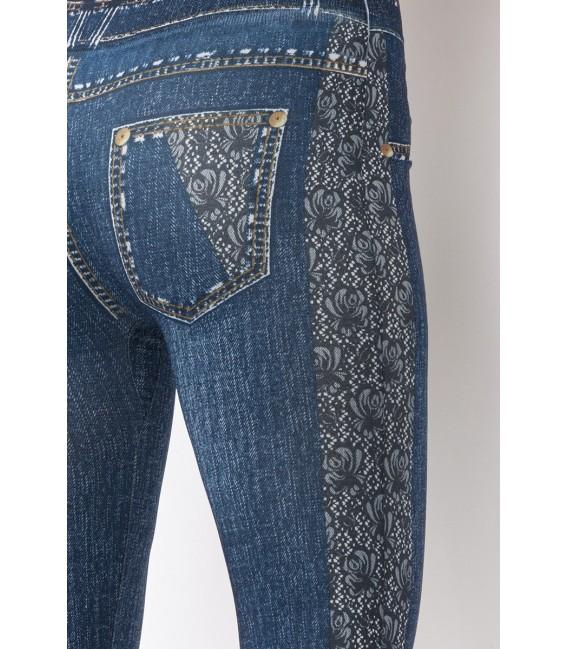Leggings in Jeans Waschung mit aufgedruckten Taschen und Steppnähten