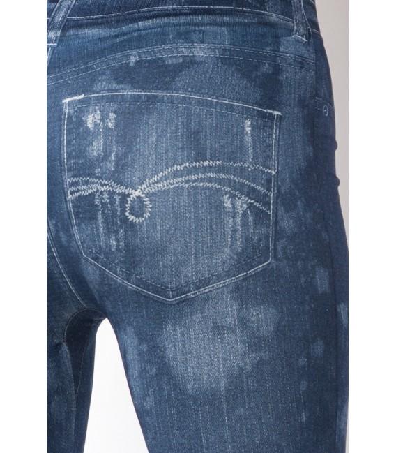 Leggings mit Print im Jeans Look mit aufgedruckten Taschen und Steppnähten
