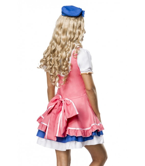 Doll-Kostüm besteht aus Kleid, Bluse, Hut und Schleife