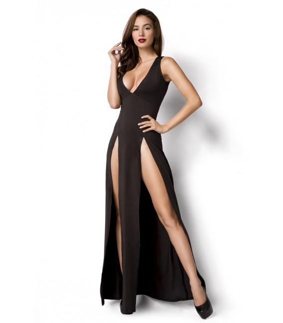 Kleid in schwarz mit sexy Beinschlitzen und tiefem V-Ausschnitt