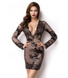 Pailletten-Kleid mit tiefem V-Ausschnitt