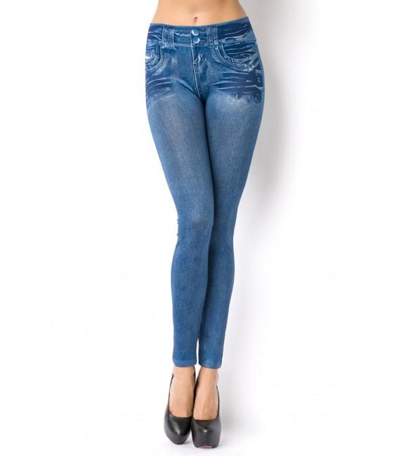 Leggings im Jeans Look mit aufgedruckten Taschen und Patches