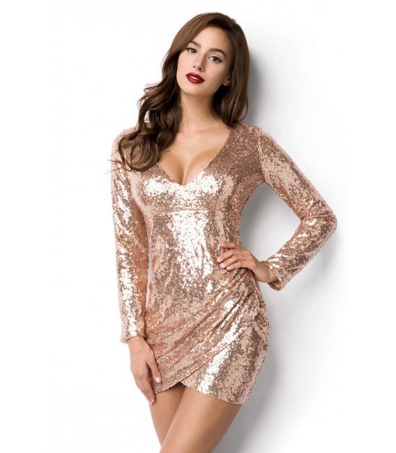 Pailletten-Kleid mit V-Ausschnitt und langen Ärmeln rosegold