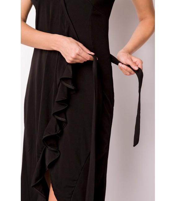 Wickelkleid mit Volant an der vorderen Kante