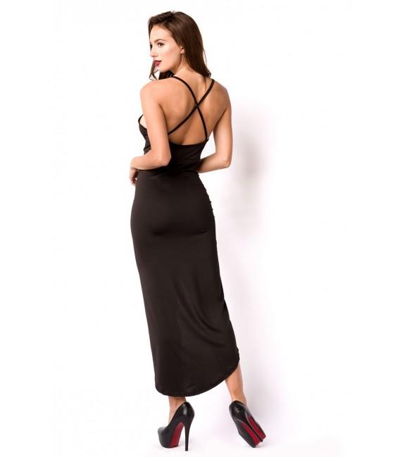 Sommerkleid mit tiefem Rückenausschnitt und überkreuzten Trägern schwarz