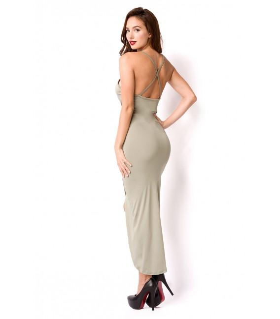 Sommerkleid mit tiefem Rückenausschnitt und überkreuzten Trägern grün