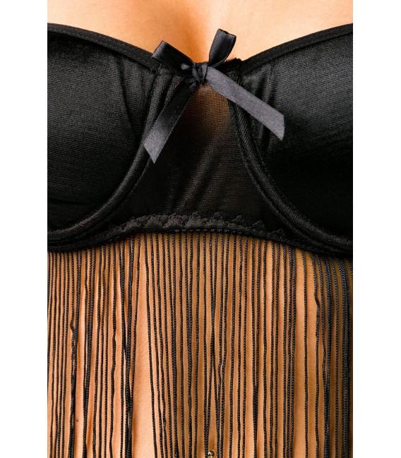 Wäsche-Set mit Neckholder-BH zum Binden und String