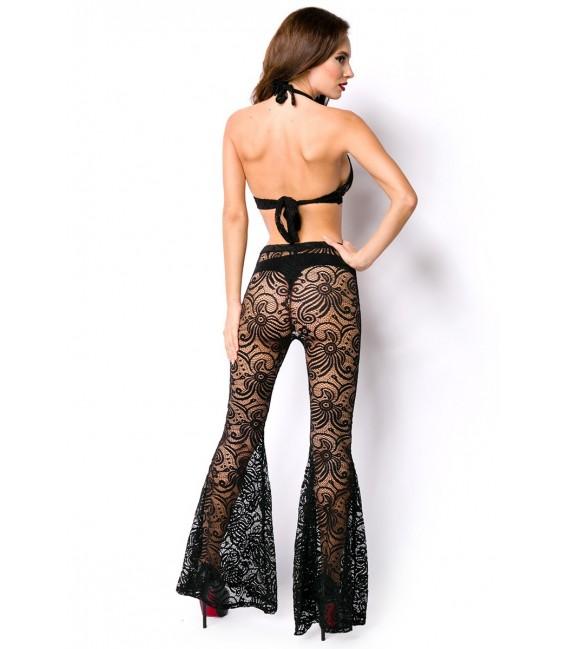 Top und Hose aus transparenter Spitze schwarz
