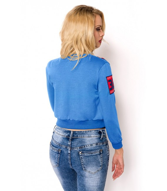 cropped Blousonjacke mit Rippbündchen blau