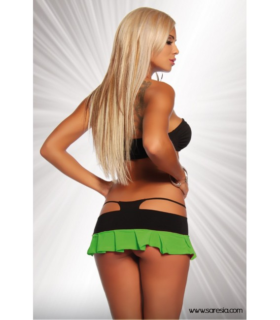 Gogokini von Saresia, Neckholder-Top und Minirock mit integriertem Höschen schwarz/grün